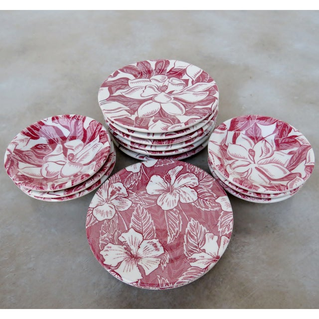 American Vintage Tepco Maroon and White Dinnerware - Set of 21 For Sale - Image 3 of 7