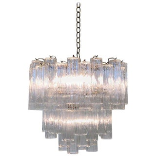 "Italian Murano Glass and Brass ""Tronchi"" Chandelier by Venini For Sale"