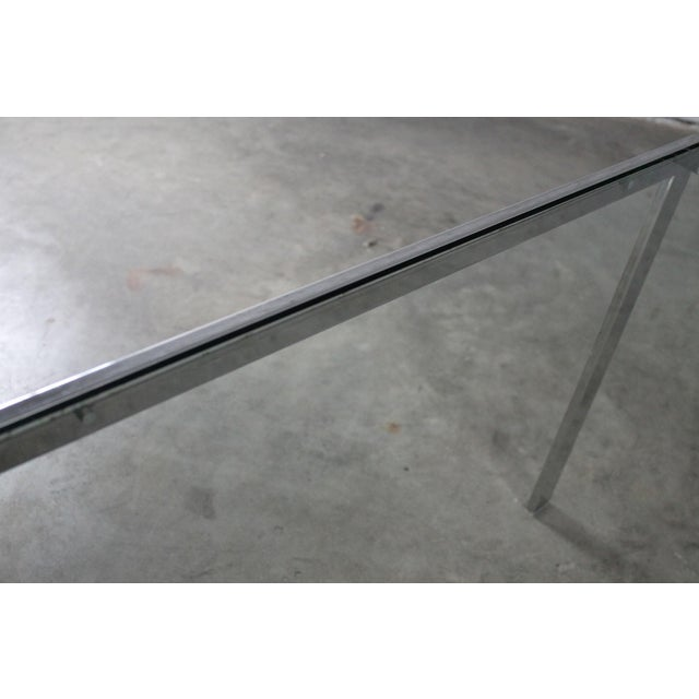 Chrome Chrome and Glass Milo Baughman Attribution Parsons Style End Table Vintage Modern For Sale - Image 7 of 10