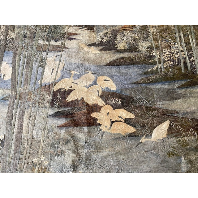 Antique Japanese Scenic Crane Bamboo Silk Hanging Wall Tapestry For Sale - Image 10 of 11