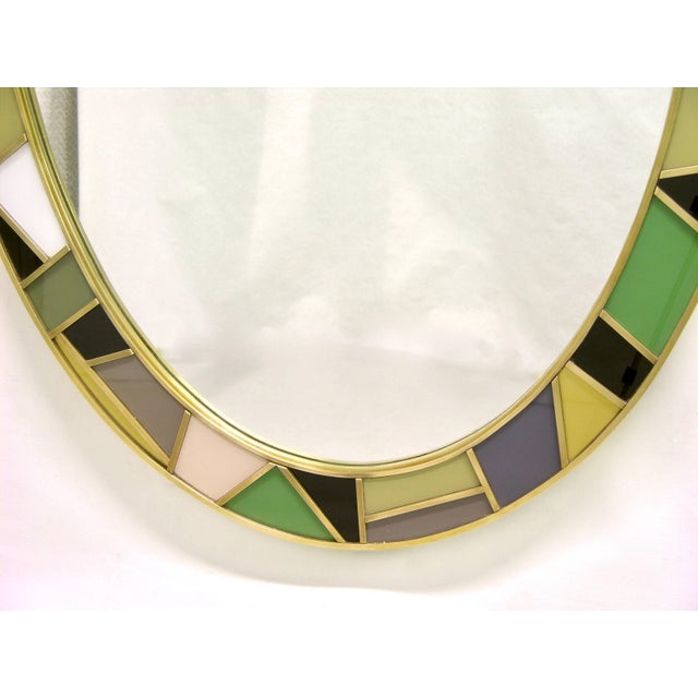 Contemporary 1970s Italian Modern Oval Mirror in Green Grey Blue Yellow Black White and Brass For Sale - Image 3 of 10