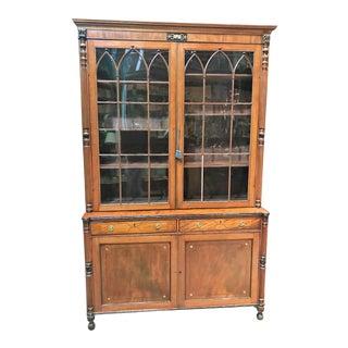 19th Century English Sheraton Mahogany Bookcase Cabinet For Sale