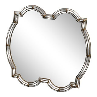 Modern Double Mirrored Mosaic Accent Mirror For Sale