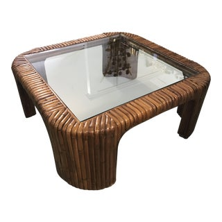 Split Reed Rattan Waterfall Coffee Table For Sale