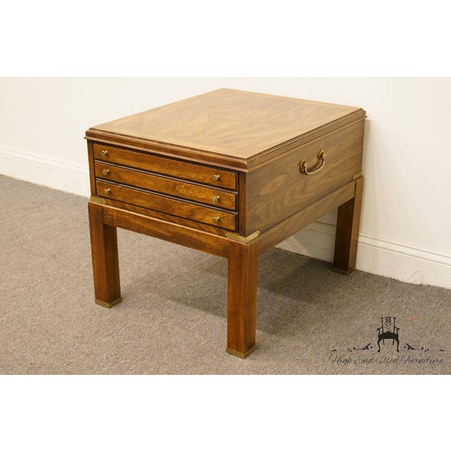 Lane Furniture 20th Century Contemporary Lane Furniture Bookmatched Walnut End Table For Sale - Image 4 of 13