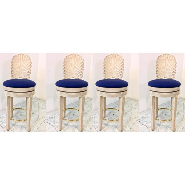 Set of 4 Shell Back Swivel Barstools - Image 4 of 9
