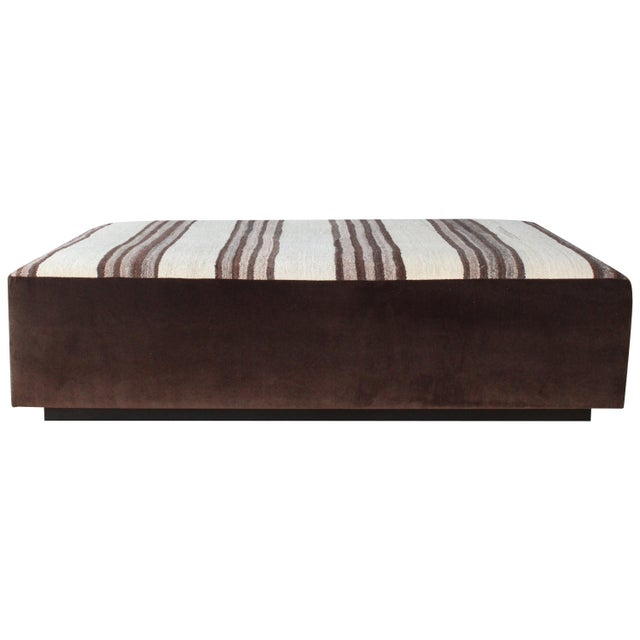 Upholstered Ottoman in Vintage Striped Navajo Rug For Sale - Image 11 of 11