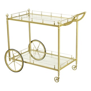 1960s Brass & Glass Rolling Service Cart For Sale
