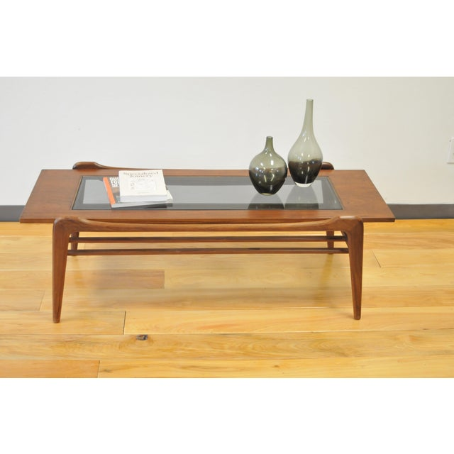 1960s 1960s Scandinavian Modern Wood and Glass Coffee Table For Sale - Image 5 of 6