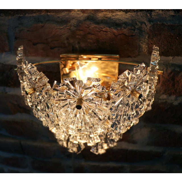 1970s Germany Kinkeldey Starburst Wall Sconces Crystals on Gilt-Brass - a Pair For Sale - Image 9 of 13