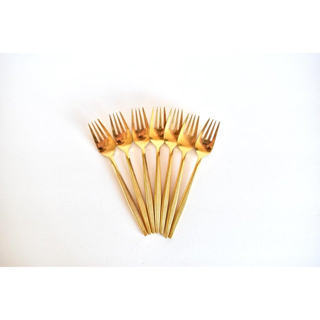 Stanley Roberts 1960s Mid-Century Modern Gold Flatware Service for 8 - 50 Pieces Set For Sale - Image 4 of 11