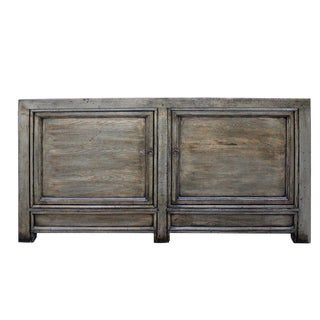 Chinese Distressed Pale Olive Green 4 Doors Sideboard Table Cabinet For Sale