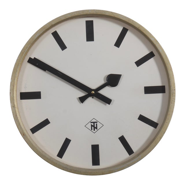 Large Industrial Factory or Stration Clock by Telefonbau Und Normalzeit For Sale