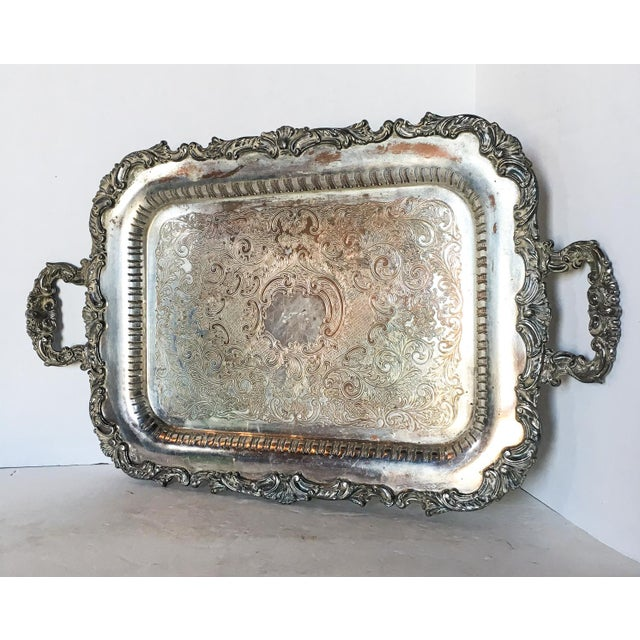 Traditional Antique Silverplate Filigree Tray With Handles For Sale - Image 3 of 6