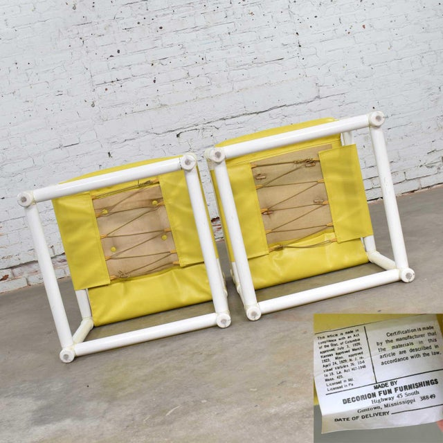 Textile MCM Outdoor Pvc Side Chairs Yellow Vinyl Upholstery by Decorion Fun Furnishings - a Pair For Sale - Image 7 of 11