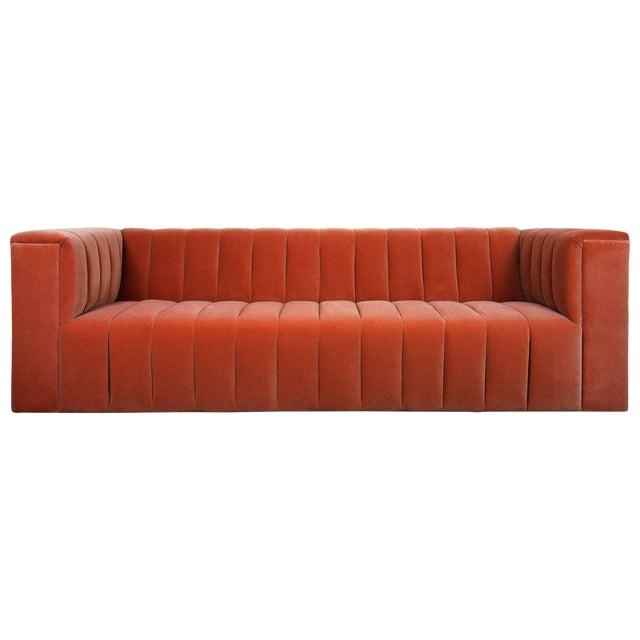 Monaco Sofa in Paprika Velvet For Sale