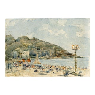Watercolor Painting of Benidorm, Spain 1975 For Sale