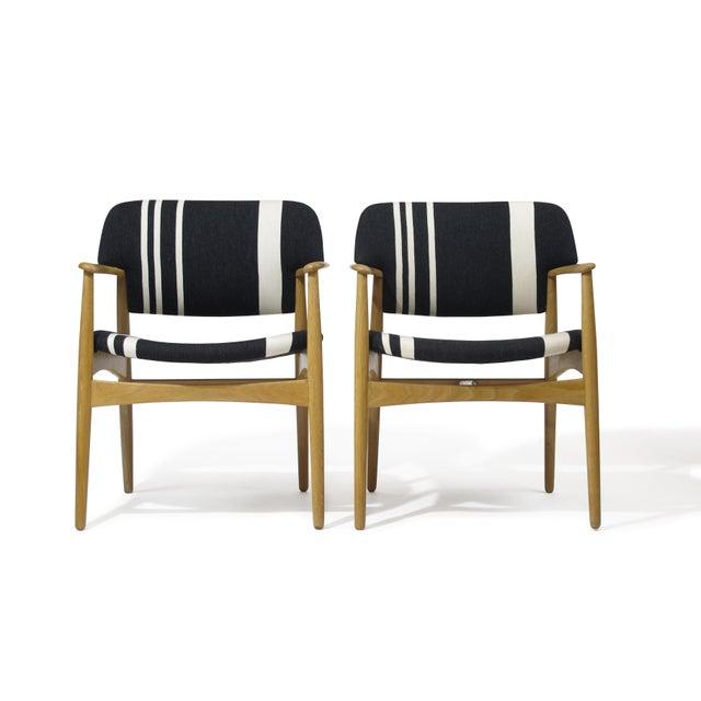 Aksel Bender Madsen for Fritz Hansen Oak Armchairs - Image 11 of 11