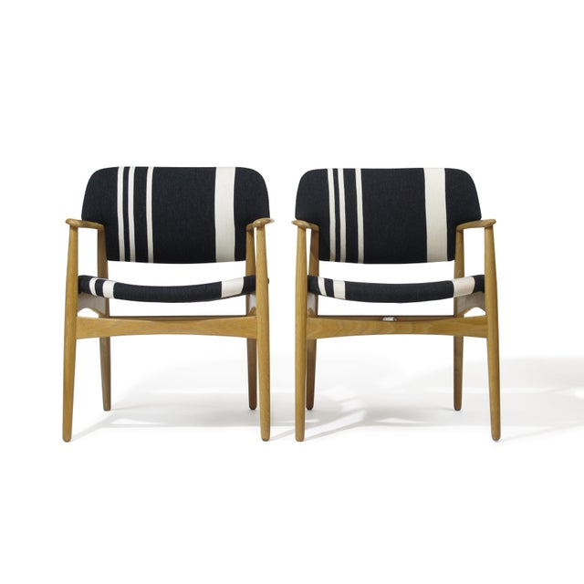 Pair of Aksel Bender Madsen for Fritz Hansen Oak Armchairs For Sale - Image 11 of 11