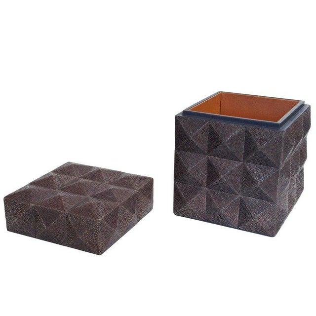 Gray Pyramid Gray Shagreen Box by Fabio Ltd For Sale - Image 8 of 8