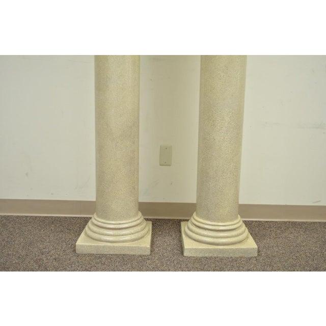 """Vintage Pair of 60"""" Faux Concrete Fiberglass Columns Pedestal Sculpture Plant Stands For Sale - Image 4 of 11"""