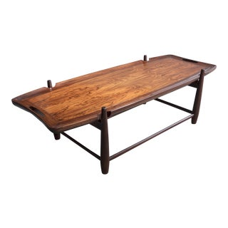 Arimello coffee table with carved handles in imbuia and a solid imbuia frame. Designed by Sergio Rodrigues, Brazil, 1958. For Sale