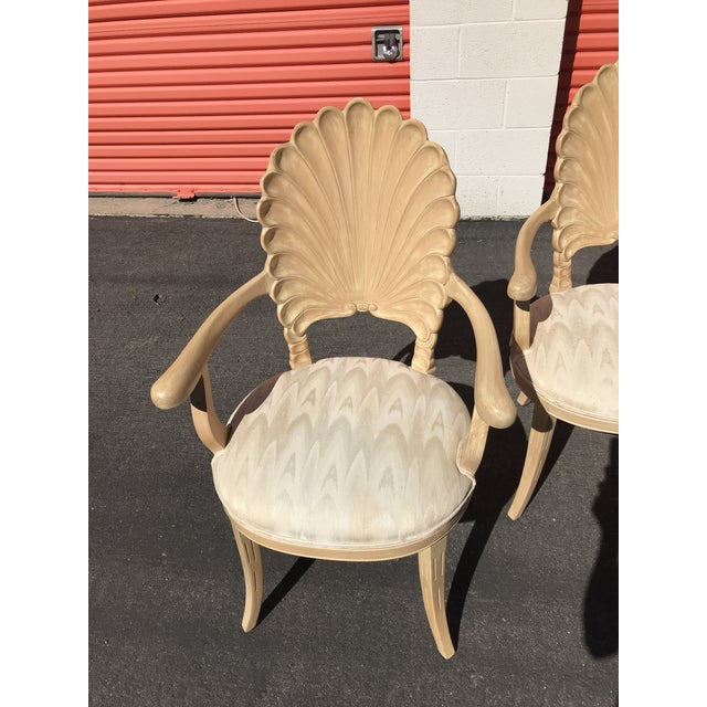 Hollywood Regency Grotto Italian Carved Wood Seashell Shell Back Dining Chair For Sale - Image 3 of 12