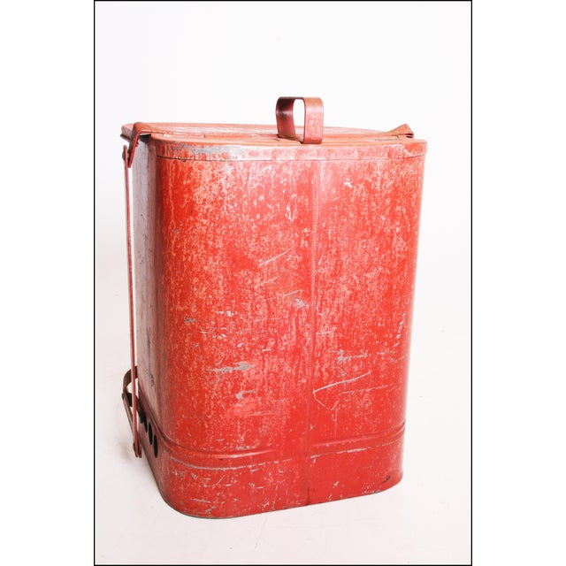 Industrial Vintage Industrial Red Metal Trash Can with Flip Top Lid For Sale - Image 3 of 11