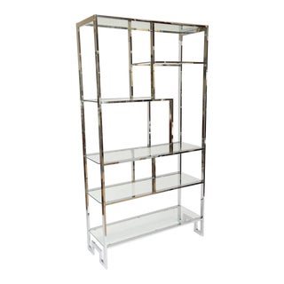 Milo Baughman Greek Key Chrome Etagere