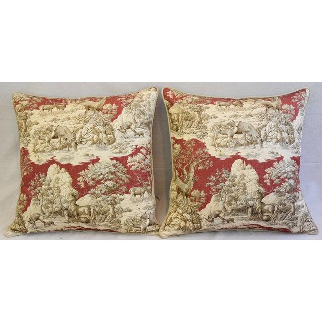 Custom Woodland Toile Deer & Velvet Pillows - a Pair - Image 3 of 10
