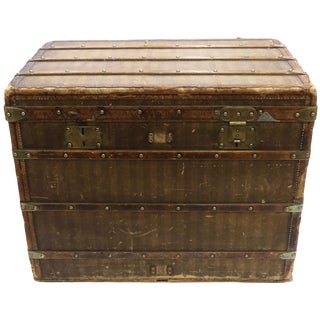 Late 19th Century Louis Vuitton Striped Rayee Canvas Steamer Trunk For Sale