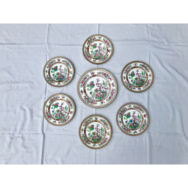"""1930s Tea Sandwich Hand Painted Porcelain """"Indian Tree"""" Royal Doulton Plates Circa 1930 - Set of 6 For Sale - Image 5 of 10"""