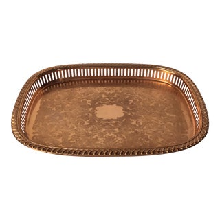 Mid-Century French Solid Copper Serving Tray For Sale