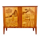 Image of 1940s Swedish Inlaid Storage Cabinet by Erik Matsson for Mjölby Intarsia For Sale