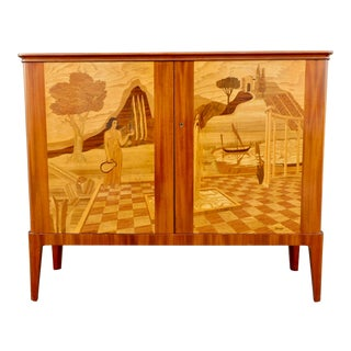 1940s Swedish Inlaid Storage Cabinet by Erik Matsson for Mjölby Intarsia For Sale