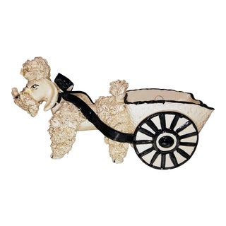 C.1950 Signed Italian Pottery Poodle Pulling Cart