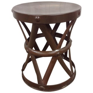 Mid Century Sarried Boho Chic Brass Drum Table For Sale
