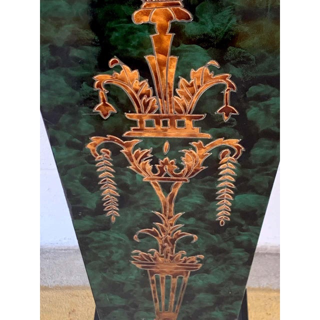 Wood Neoclassical Faux Painted Green and Gilt Pedestals - a PAir For Sale - Image 7 of 8