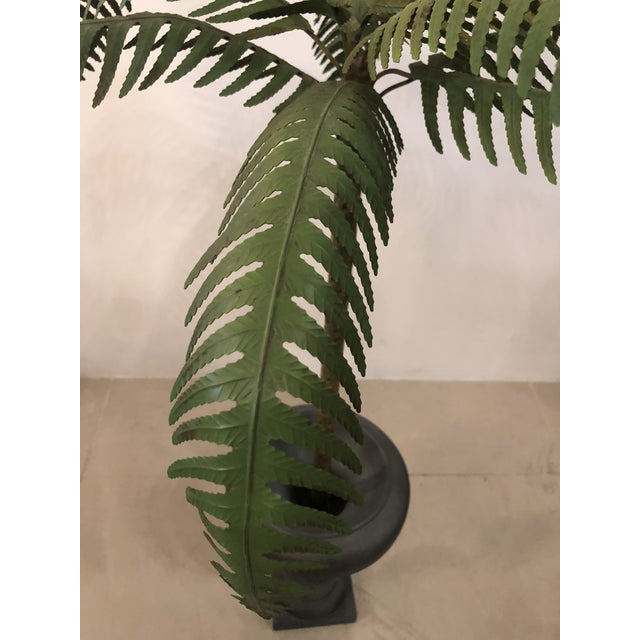 Vintage Hollywood Regency Palm Beach Metal Tole Palm Tree Urn Planter For Sale In West Palm - Image 6 of 11