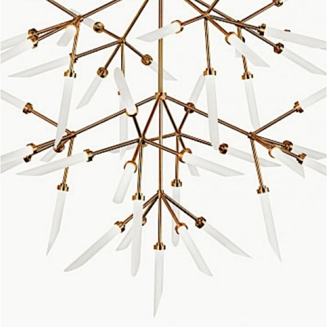 Mid-Century Modern Style Brass and Frosted Glass Sculptural Chandelier, showroom floor sample