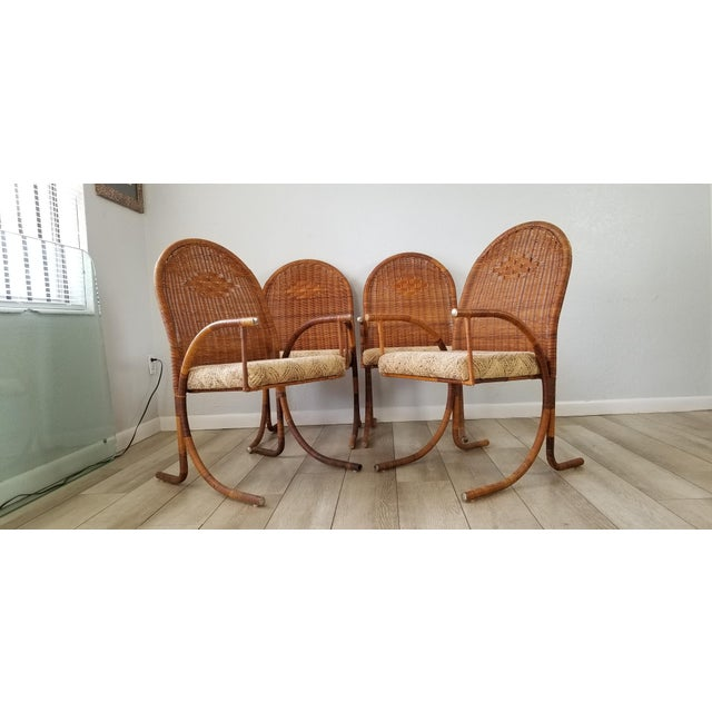 Vintage McGuire Style Woven Wicker Arm Dining Chairs - Set of 4 For Sale - Image 13 of 13