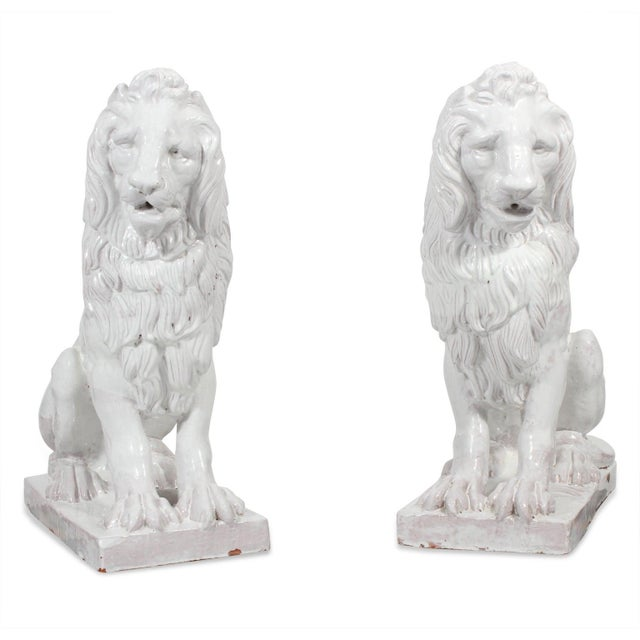 Facing Early to Mid-20th Century Regal, Majolica Lion Figures - A Pair For Sale - Image 9 of 9