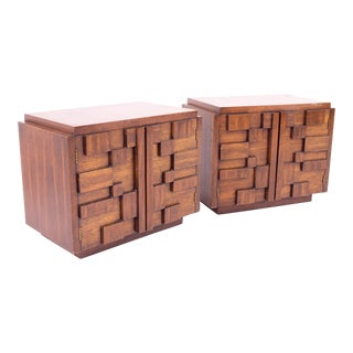 1960s Lane Mid Century Brutalist Nightstand, Paul Evans Style-a Pair For Sale