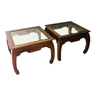 1970s Ming Chinese Glass Topped Wooden Side Tables - a Pair