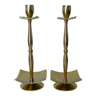 English Brass Candlesticks, a Pair For Sale