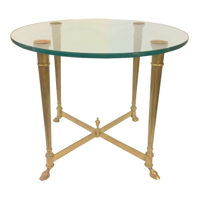 1960s Hollywood Regency Glass and Brass Hoof Table For Sale