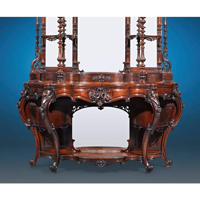 Hollywood Regency Rococo Revival Rosewood Étagère by Thomas Brooks For Sale - Image 3 of 6