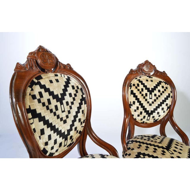 1930s Victorian Parlor Chairs Having Carved Mahogany Frames With Art Deco Upholstery For Sale - Image 5 of 8
