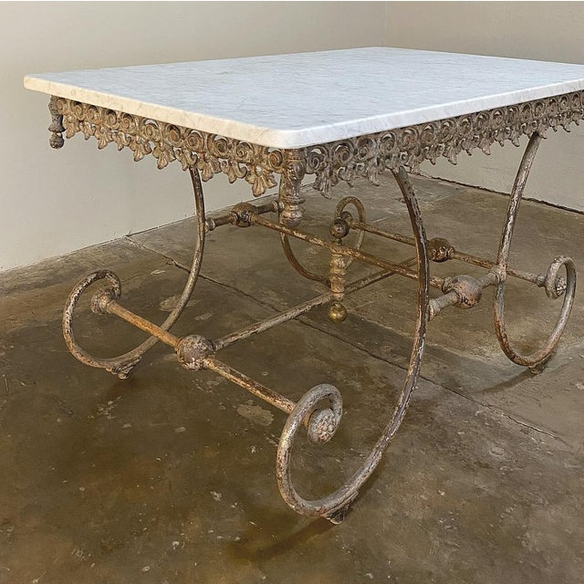 19th Century Iron Marble Top Confectioner's Table For Sale - Image 10 of 13