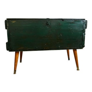 20th Century Rustic Green Storage Chest For Sale